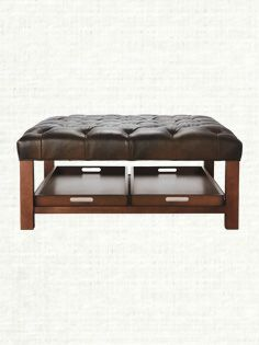Charmant Butler Square Tufted Leather Ottoman With Trays In Libby Espresso
