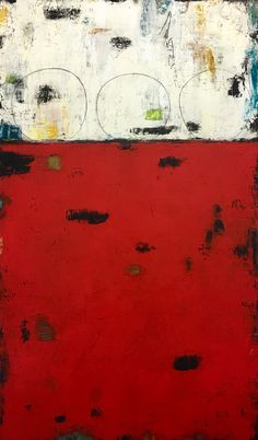 """""""In the Moment"""", 42"""" x 72"""", mixed media painting by Candace Primack,red, white, black, graffiti"""