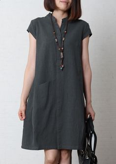 Gray blue loose fitting sundress linen shift dres