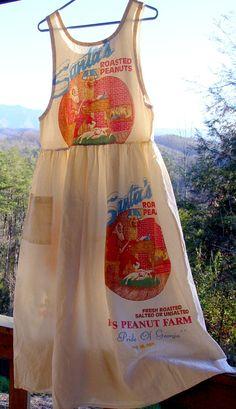 Vintage Christmas feed sack dress. $200.00, via Etsy.
