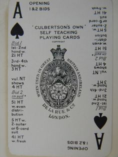 Culbertson's Own Self Teaching Playing Cards Ace of Spades