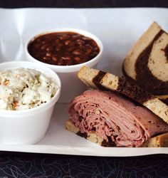 The smoked pastrami sandwich & pit-smoked, homemade baked beans are just two of the reasons that Bogart's Smokehouse is one of SLM's favorite BBQ spots. Photo credit: STEVE ADAMS. BEST BBQ, JUNE 2012 ISSUE, PAGE 76.
