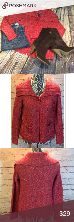 STYLE & CO RED CARDIGAN Pretty red cardigan with a silver sparkle threading throughout. One button at the top. Like new condition Style & Co Sweaters Cardigans