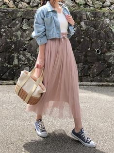 15 perfect skirt outfits for today's fashion page 7 Long Skirt Fashion, Long Skirt Outfits, Modest Outfits, Skirt Ootd, Long Skirts, Long Skirt Style, Korean Skirt Outfits, Long Skirt Looks, Striped Skirt Outfit