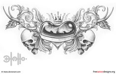 Lower back heart tattoo with swallows, skulls and crown