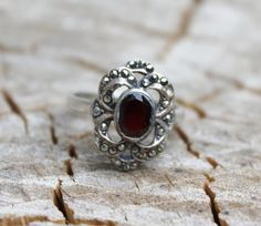 Vintage Art Deco Silver Marcasite and Red Garnet Ring