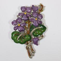 Crown Trifari Enamel Pansy Flower Rhinestone Brooch Pin Fur Clip Alfred Philippe | eBay