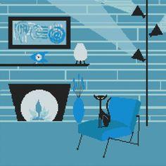 Modern Cross Stitch Kit By Kerry Beary 'Aqua by GeckoRouge on Etsy, $55.00