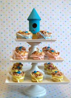 "My fav cupcake ""tree""! I love the simple, tiny bird house at the top. It can be made easily with a bird house from Michaels, I'd paint mine bright yellow of course, to go with my shower theme."