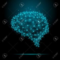 Illustration of Polygonal human brain. The concept consists of polygons with luminous nodes at the intersections of the ribs. Vector illustration vector art, clipart and stock vectors. Awesome Art, Cool Art, Neural Connections, Design Trends, Design Ideas, Music Files, Sound & Vision, Ribs, Vector Art