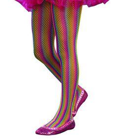 Loving this Rainbow Stripe Fishnet Tights - Girls on #zulily! #zulilyfinds