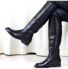 military men s solid black knight knee high boots flat casual shoes Sz.  MilitärangehörigeKniehohe StiefelMode ... a081a08105