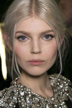 Ola Rudnicka, Dolce & Gabbana  We love this elfin 60s look, loose strands framing the face & a soft undo. www.pauledmonds.com