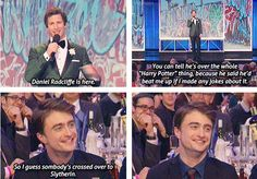 "Harry Potter jokes FOREVER, his face simultaneously says ""that was kinda funny"" and ""I will kill you""."