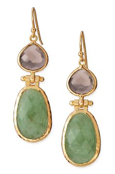 """A faceted Aventurine stone is hinged to a teardrop of smoky glass. Framed in hand hammered bezel.  As seen on actress Emmy Rossum.  As seen in Ladies Home Journal!  2"""" length.  Gold vermeil fish hook earwire. $79.00 #jewelry #gifts"""