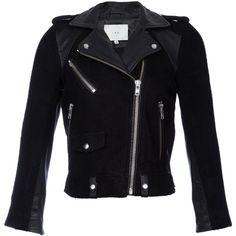 Iro Adila Suede & Leather Moto Jacket ($699) ❤ liked on Polyvore featuring outerwear, jackets, coats, leather jackets, tops, black, suede jacket, black biker jacket, suede motorcycle jacket and biker jacket