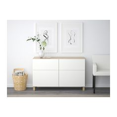 BESTÅ Storage combination w doors/drawers - white stained oak effect/Lappviken white, drawer runner, soft-closing - IKEA