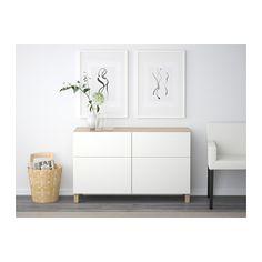 BESTÅ Säilytyskokon+ovet/laatikot - vaaleaksi petsattu tammikuvio/Lappviken valkoinen, liukukisko ponnahduslaatikkoon - IKEA