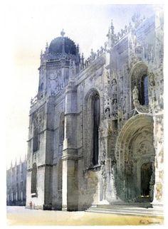 Michal Suffczynski Watercolor -Jeronimos monastery ,Lisbon, Portugal