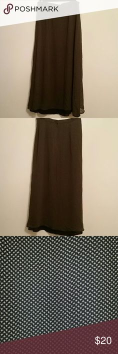 Talbots Long Skirt Talbots fully lined, long skirt, size 8. Colors are black and tan. Shell is 100% Rayon. Lining is 100% Polyester. Talbots Skirts