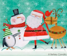 Betsey Cavallo-Pinzellades al món: Nadal Christmas Cartoons, Christmas Poster, Christmas Characters, Christmas Clipart, Christmas Images, Christmas Art, Christmas Themes, Vintage Christmas, Christmas Decorations