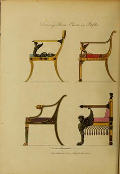 Collection of designs for household furniture and interior decoration, in the most approved and elegant taste . engraved on 158 plates, from original drawings Egyptian Furniture, Egyptian Home Decor, Georgian Furniture, Gothic Furniture, Deco Furniture, Furniture Styles, Antique Furniture, Modern Furniture, Furniture Design
