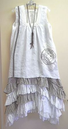 white linen Bodil French Postmark Tank over the Tina Givens natural/off-white Selena Strap Dress..... so nice and fresh for summer! Kati Koos