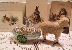 Easter Greetings carriage with silver foil Dresden bunny and little lamb