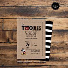 Mickey Oh TWOdles Birthday Invitation (Digital File or Prints with Envelopes) (FREE Shipping) (ALL Wording can be changed) by ErinDipityPrints on Etsy (#mickey #toodles #ohtoodles #twodles #ohtwodles #two)