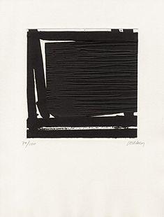 """Pierre Soulages (Born 1919 Rodez) """"Eau-forte XLI"""" Etching and aquatint 1998 41 x 32.3 cm Pr. 20.5 x 21 cm"""