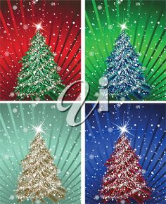 iCLIPART - Clip Art Illustration of a Set of Christmas cards in different colors.