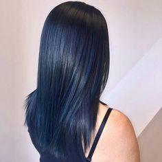 33 trendy ombre hair color ideas of 2019 - Hairstyles Trends Hair Dye Colors, Ombre Hair Color, Hair Color For Black Hair, Cool Hair Color, Dyed Black Hair, Navy Hair, Midnight Blue Hair, Dark Blue Hair, Brown Ombre Hair
