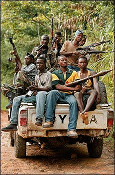 These insurgents terrorized rural Sierra Leone in an effort to control the nations diamond mines. Aided by factions of the National Patriotic Front of Liberia, these groups committed horrific atrocities which included forcing children to become soldiers, amputations of limbs and cannibalism of enemies, including peacekeepers and United Nations personnel