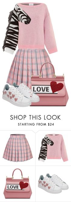 """""""Pink and White"""" by subvilli on Polyvore featuring Hayley Menzies, Dolce&Gabbana, Chiara Ferragni, white, Pink, polyvoreeditorial and polyvorefashion"""