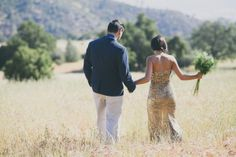 A Gold Sequin Wedding Dress for a Rustic Glam Mountain Elopement | Alexandra Wallace Photography | See More! http://heyweddinglady.com/the-u...