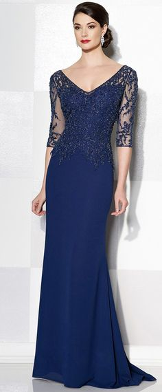 Elegant Tulle & Chiffon V-Neck Sheath Mother of the Bride Dresses With Beaded Lace Appliques