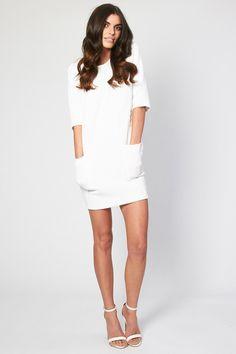 f35d250b47 TFNC Frida White Textured Dress