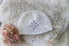 This listing is for two patterns - a baby blanket (baby afghan, christening baby shawl) pattern, and a matching baby hat pattern (size months). Crochet Baby Booties Tutorial, Crochet Baby Hat Patterns, Baby Afghan Crochet, Crochet Bebe, Crochet Baby Hats, Easy Crochet, Free Crochet, Doily Patterns, Crochet Angels