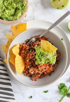 Mexican Style Cauliflower Rice with guacamole - an easy, one skillet plant based dinner | Grain Free, Vegan, Gluten Free