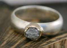 Rough Diamond, Sterling Silver, and Gold  Ring.