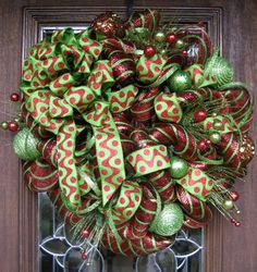 Deco Mesh ANTIQUE RED and LIME Christmas Wreath with by decoglitz