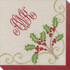 Christmas Embroidery Linen Look Caspari Paper Napkins