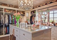 Jeff Andrews Design - closets - Ironies Asilah Chandelier, custom closet, custom closet design, clothes rails, double hung clothes rails, bu...
