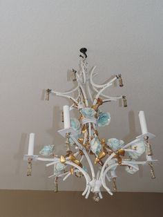 French porcelain flower chandelier found in paris lighting hollywood regency style italian chandelier italy tole bamboo chandelier italian ceramic floral cottage chic hanging light aloadofball Images