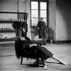 Balthus with his model and niece Frederique Tison, 1956.