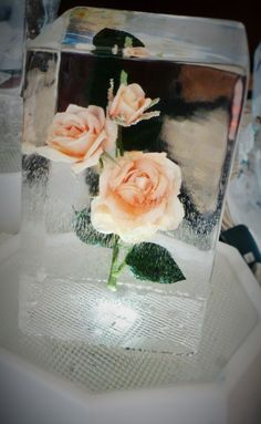 Peach Roses  table center  ice sculpture