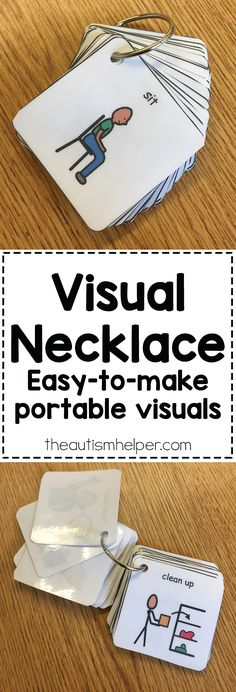 Our kids might need access to visuals in the hallway, on the playground, getting on the bus, etc. so we're sharing our Visual Necklace resource to help make visuals portable!! From theautismhelper.com #theautismhelper