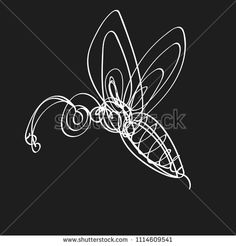 Hand drawn image of wasp in continuous line style. Vector illustration