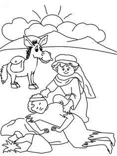 Cartoon of Good Samaritan Story Coloring Page NetArt