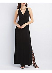 Side Slit Surplice Maxi Dress